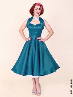 1950s Halterneck Petrol Duchess Dress from Vivien of Holloway
