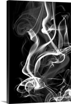 Black Smoke Abstract Solid-Faced Canvas Print