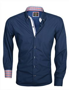 Italiaans overhemd heren Blauw