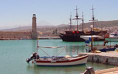 Rethymnon harbor and its restored 13th century lighthouse.