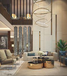 hall design on Behance Loft Interior, Luxury Interior Design, Interior Design Living Room, Living Room Designs, Luxury Home Decor, Living Rooms, Hall Interior, Contemporary Interior Design, Modern Contemporary