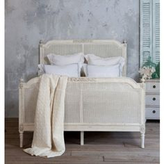 Blanka Cane Bed in Antique White Finish