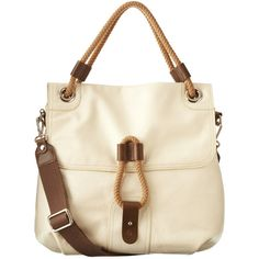 Tall Ivy Bag in Cream ($483) ❤ liked on Polyvore featuring bags, handbags, accessories, purses, сумки, hand bags, brown leather handbag, nautical purse, genuine leather purse and leather handbag purse