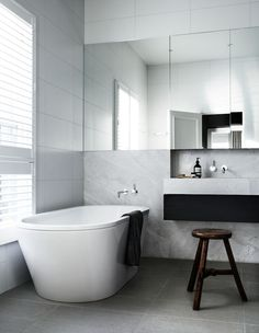 perfect tile combo, recessed shelf, bath + stool | Robson Rak Architects | Toorak
