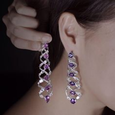 A Pair of Natural Untreated Purple Sapphires and Diamonds Earrings by FORMS…