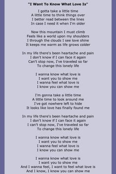 Foreigner~I want to know what love is~lyrics