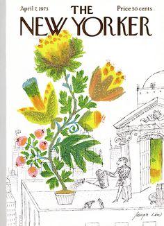 The New Yorker - Saturday, April 1973 - Issue # 2512 - Vol. 49 - N° 7 - Cover by Joseph Low The New Yorker, New Yorker Covers, Garden Illustration, Graphic Design Illustration, Vintage Posters, Vintage Art, Vintage Vogue, All Poster, Poster Prints