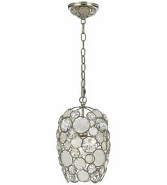 Crystorama Lighting Palla 1 Light Chandelier in Antique Sliver & Natural White Capiz Shell + Hand Cut Crystal 523-SA | Collection Pieces: http://www.lightingnewyork.com/brand/crystorama.html?col=Palla | Lighting New York