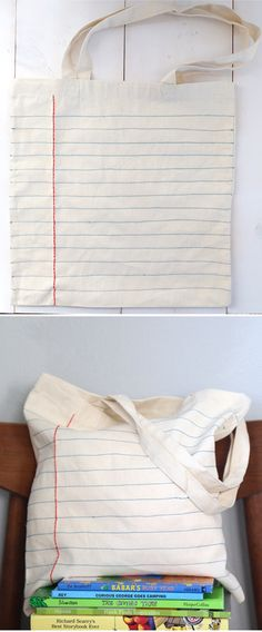 'DIY Notebook Sewn Canvas Tote Bag...!' (via Say Yes)