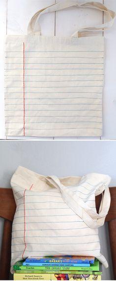 'DIY Notebook Sewn Canvas Tote Bag...!' (via Say Yes)
