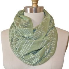Anne of Green Gables Book Scarf! This infinity scarf is made from lighter weight fabric and perfect for warmer weather.