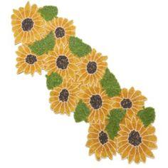 """Harvest 13"""" x 35"""" Beaded Sunflower Table Runner"""