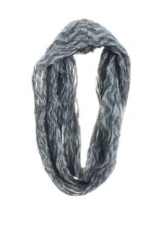 Joyn Double Wrap Infinity Scarf - Grey Chevron