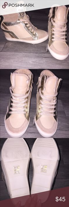 Sneaker wedges Brand new sneaker wedges. Pink with gold/rose gold detail. Aldo Shoes Wedges