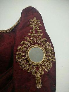Simple aari work blouse designs that will inspire you Kerala Saree Blouse Designs, Saree Blouse Neck Designs, Bridal Blouse Designs, Mirror Work Blouse Design, Aari Work Blouse, Maggam Work Designs, Simple Blouse Designs, Hand Embroidery Designs, Embroidery Blouses