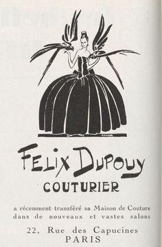 Felix Dupouy couturier - pub magazine Vogue 1926