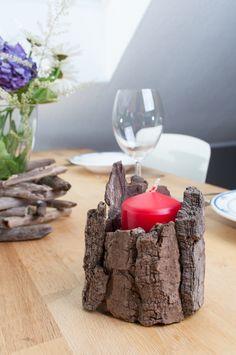Driftwood/ Tree Bark: Treibholz Deko - Rinde flexibel einsetzbar für Kerzen, Teelichte, kleine Vasen