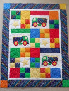 Boy's truck quilt for toddler or baby