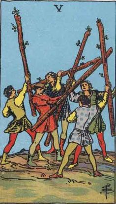 "Five of Wands or Batons is a card used in Latin suited playing cards which include tarot decks. It is part of what tarot card readers call the ""Minor Arcana"". A posse of youths are brandishing staves (wands), as if in sport or strife. This illustrates a kind of mimic warfare and corresponds to these divinatory meanings: Imitation, as in taking part with others, for example, in a sham fight; a strenuous competition and struggle in the search for riches and fortune. It is about being alert…"