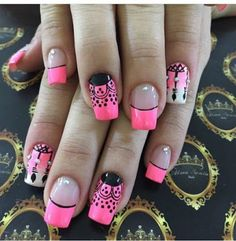 I think I'd just do the pink tips with the black lines. Nail Designs 2017, Creative Nail Designs, Nail Art Designs, Fabulous Nails, Perfect Nails, Love Nails, Fun Nails, Dream Catcher Nails, Bio Sculpture Nails