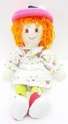 hand made rag dolls cloth rag doll soft body light orange hair brown eyes stuffed toy pink hat pink shoes rag doll handmade ragdoll NF185