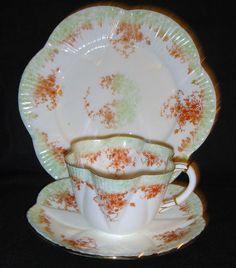 Antique shelley foley wileman jungle dainty shape cup, saucer, plate(trio) #9059
