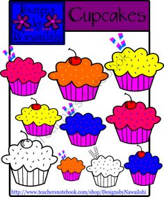Cupcakes Clip Art Designs By Nawailohi from Designs by Nawailohi on TeachersNotebook.com -  (10 pages)  - Included in this Cupcake Clip Art set is 10 high quality graphics for personal and commercial use!  ~All Clipart is in png format only