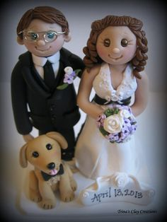 polymer clay bride & grom | ... Bride and Groom, Dog, Yellow Lab, Date Plaque, Polymer Clay Wedding