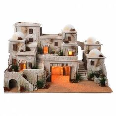 Complete Arab village with hut cm Christmas crib, Christmas DIY . Clay Houses, Ceramic Houses, Miniature Houses, Christmas Crib Ideas, Christmas Nativity, Christmas Diy, Pottery Houses, Modelos 3d, Fairy Houses