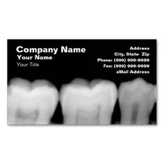 X-Rays of Teeth Business Cards. This great business card design is available for customization. All text style, colors, sizes can be modified to fit your needs. Just click the image to learn more!