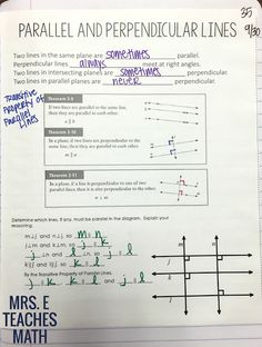 parallel and perpendicular lines notes for geometry interactive notebooks - free download