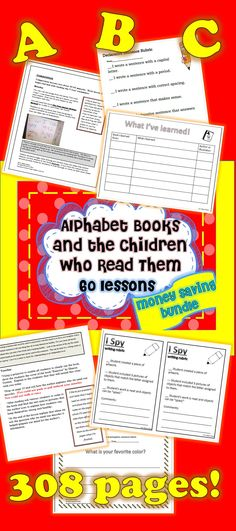 60 lessons (6 weeks of lessons) for Alphabet Books and the Children Who Read Them!!!! #alphabetbooksandthechildrenwhoreadthem #commoncorefirstgrade #sharedreading #composition