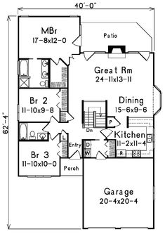 First Floor Plan of Florida   Narrow Lot   House Plan 87372