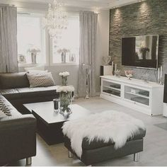 Home Design Inspiration for your Living Room Decor. New Living Room, Living Room Interior, Home Interior Design, Home And Living, White Living Room Furniture, Tv On Wall Ideas Living Room, Decorating Ideas For The Home Living Room, Classic Living Room, Modern Living
