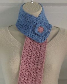 Spring Crochet Scarflette with Flower  by ColorMyWorldCrochet