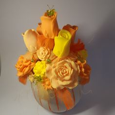 Large soap bouquet with bow ties - essential oil of orange, grapefruit and lemon Bow Ties, Grapefruit, Essential Oils, Lemon, Bouquet, Soap, Orange, Flowers, Plants