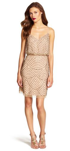 Glittering beads and sequins adorn this Art Deco-inspired blouson dress, perfect for your next special occasion.