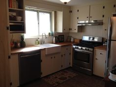 Kitchen Remodel On A Budget, We Remodeled The Kitchen In Our Ranch On A  Budget. We Painted The Original Knotty Pine Cabinets With Rust.