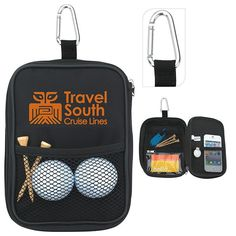 Keep your golf balls, tees and accessories handy in this compact valuables pouch. Also provides storage for your watch, cash and car keys. Zippered empty valuables pouch. Exterior and interior mesh pockets, clear window. Fill with your choice of golf balls, tees, or favorite accessories. Metal carabiner can be easily clipped on to golf bag. Carabiner is not a load-bearing device.