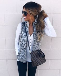 Love everything about this except the bag. Beautiful white button up and the grey is a great color contrast