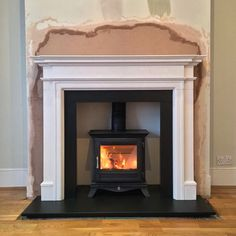 Excellent Totally Free Fireplace Hearth limestone Style Log Burning Stove With Limestone surround Wooden Fireplace Surround, Wood Burner Fireplace, Faux Fireplace Mantels, Inglenook Fireplace, Fireplace Hearth, Fireplace Surrounds, Fireplace Ideas, Fireplaces, Mantles