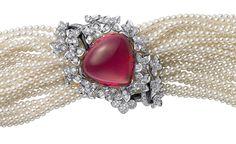 Sortilège de Cartier bracelet in platinum with a single rubellite, cultured pearls, onyx and brilliant cut diamonds.