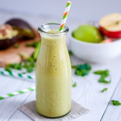 Very delicious, nutritious and creamy avocado and kale smoothie + sweet apple.   This smoothie is a super-food and is dairy free as well!