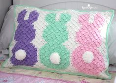 Hoppy Day! My bunny C2C project is finished and I turned it into an adorable pillow sham! Such a cutepiece of decor for a kids room or for the Easter holiday. And gender neutral! I would love to see someone make a row of gray bunnies!It fits a standard size bed pillow so no need …