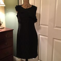 Dress Black lace dress with half sheer top and ruffle. NWOT Dress Barn Dresses Midi