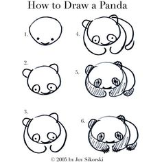 Across the Universe-how to draw a panda ❤ liked on Polyvore