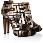 Pierre Hardy Mirrored leather-trimmed suede ankle boots