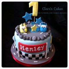 Car 1st birthday cake