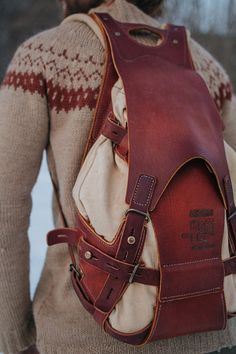 Hand crafted leather and canvas backpack