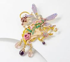 Kirks Folly Fairy of the Flowers Pin Pendant - J365457 Jewelry Show, Fantasy Jewelry, Faceted Crystal, Wings, Fairy, Aurora Borealis, Christmas Ornaments, Crystals, Qvc
